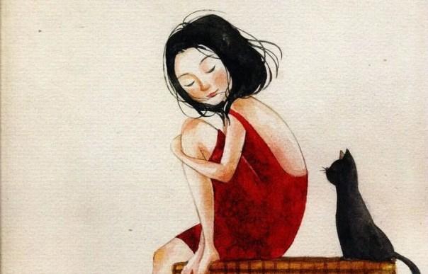 chica con vestido rojo junto a un gato negro