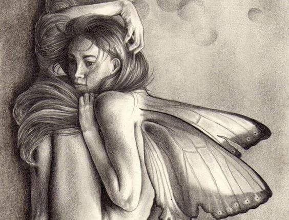 mujer encogida con mariposas
