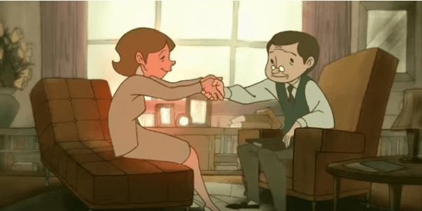 Mujer dando la mano a un psicólogo