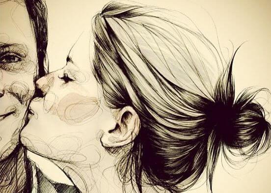 mujer besando a un hombre