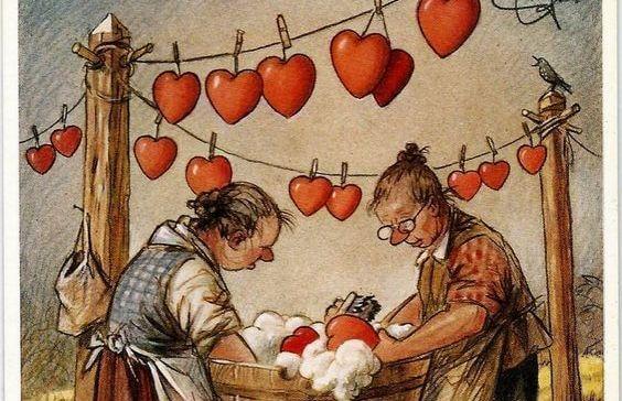 mujeres tendiendo corazones