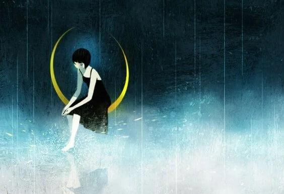 mujer en luna