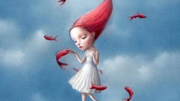 mujer con peces pensando en el derecho a enfadarte