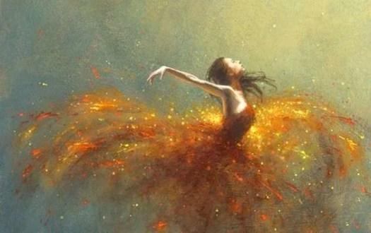bailarina con luces alrededor disfrutando de la vida
