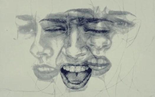 Rostro con diferentes emociones sin conciencia emocional