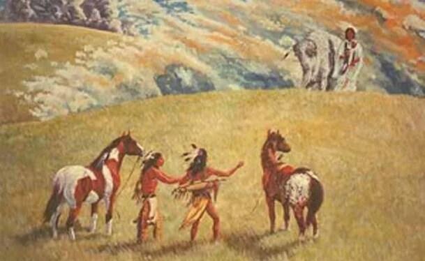 indios acercándose a la mujer del búfalo blanco