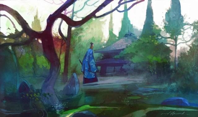ilustración simbolizando fábula del el helecho y el bambú