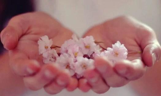 mains avec des fleurs représentant l'abondance