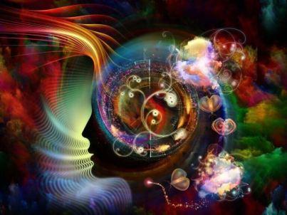 Mente con figuras simbolizando la mente extendida