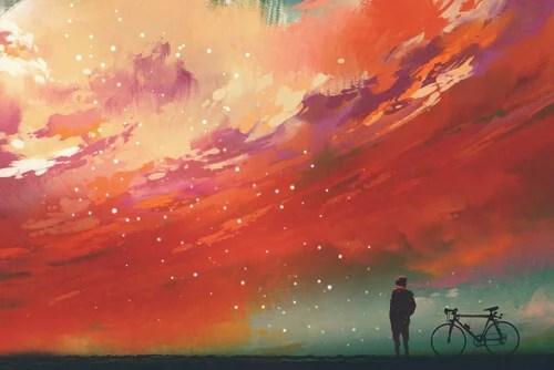 Hombre mirando al cielo