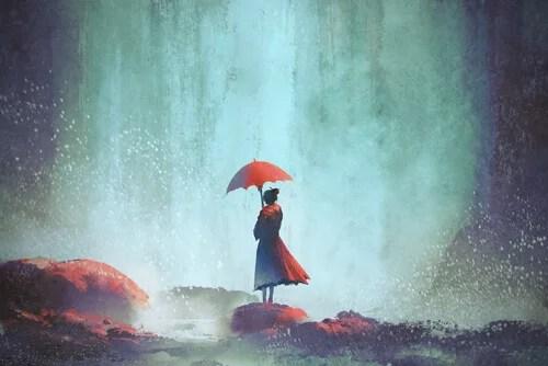 Mujer sola con un paraguas rojo pensando que me siento solo