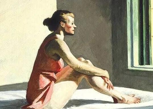 Mulher, sentando, olhar, janela