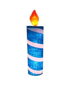 Adorno Navideño Con Luz Led Vela Azul