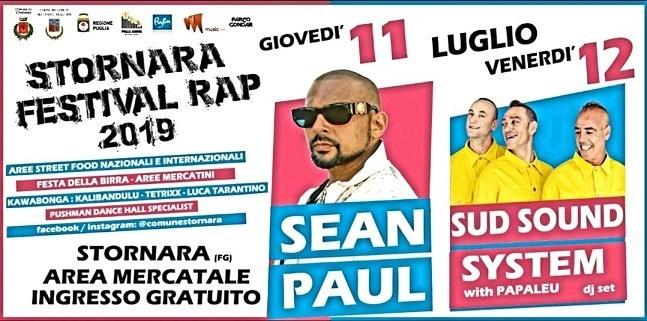 Stornara Festival Rap 2019: Sean Paul ha problemi di salute e vengono annullate le tre date. Confermata solo Baby K.