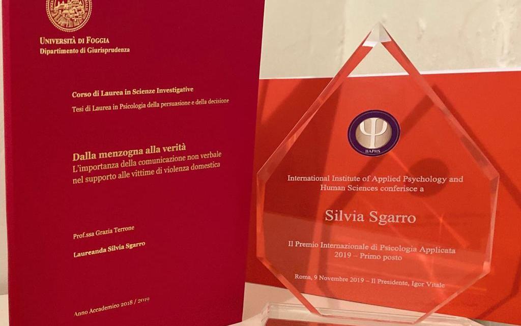 Violenza sulle donne: La cerignolana Silvia Sgarro ha ricevuto il primo premio in psicologia applicata