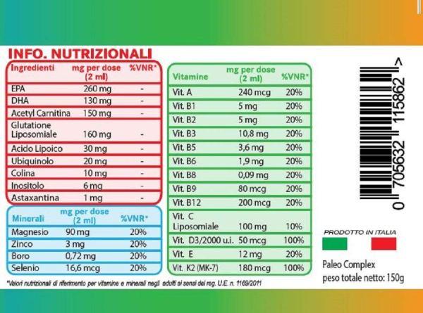 PaleoComplex valori nutrizionali