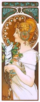 """Alfons Mucha, """"La plume"""""""