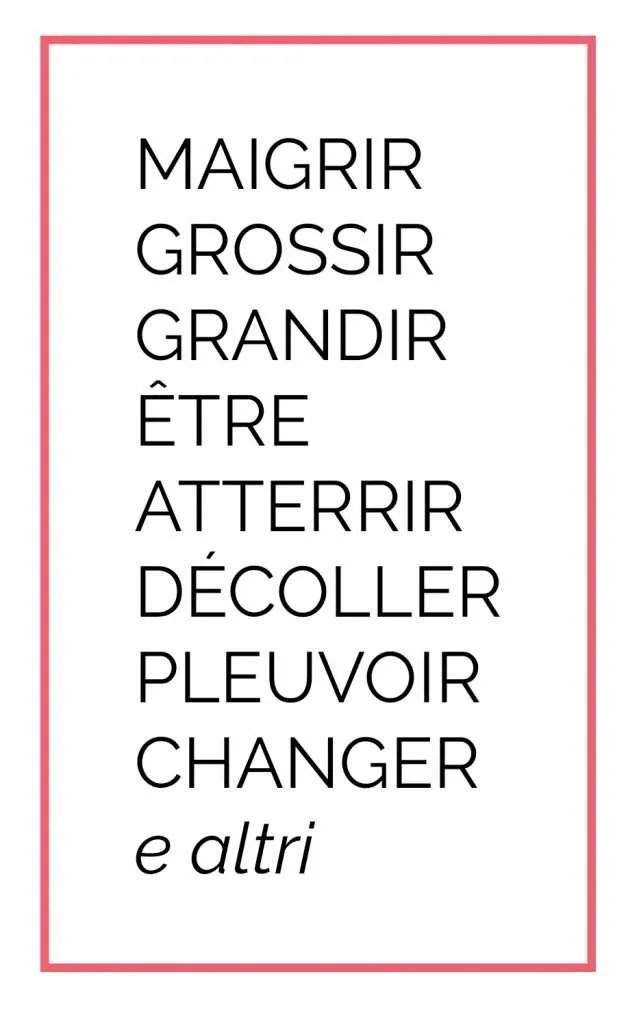 """alcuni verbi che vogliono l'ausiliare avere in francese, mentre in italiano """"essere"""". Maigrir, grossir, grandir, tre, atterrir, décoller, pleuvoir, changer ed altri"""