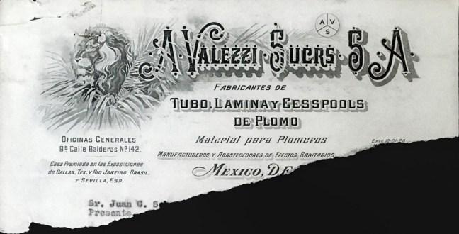 "Membrete de ""A Valezzi Sucesores"" de hace medio siglo."