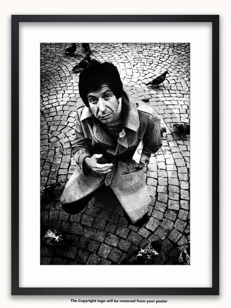 framed with white mount leonard cohen 1972 a1 poster