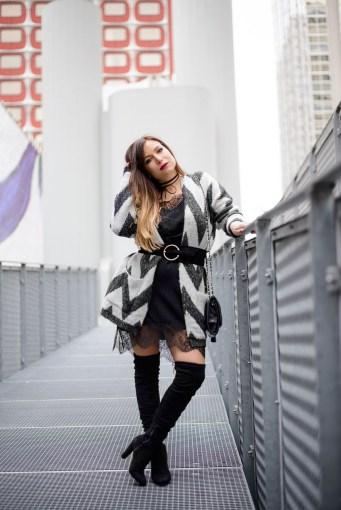 gilet oversized robe dentelle et cuissardes