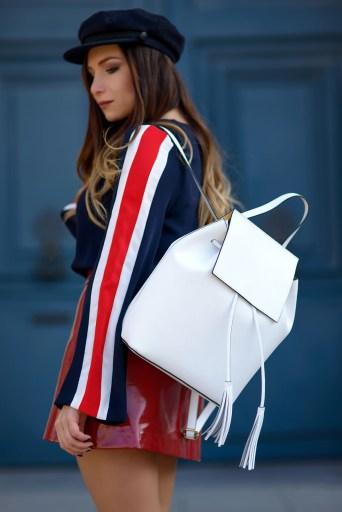 sac à dos en cuir blanc Lisa Rinaldi x Showroomprive