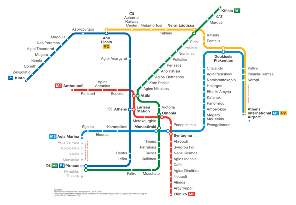 Carte métro Athènes