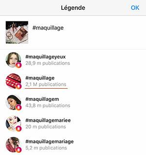 nombre de publications par hashtag