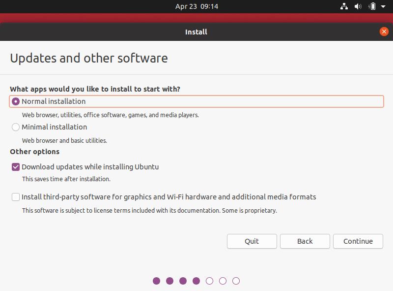 Pilihan instalasi pada ubuntu 20.04 dekstop