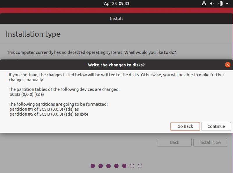Popup tampilan perubahan pada disk ketika install ubuntu 20.04