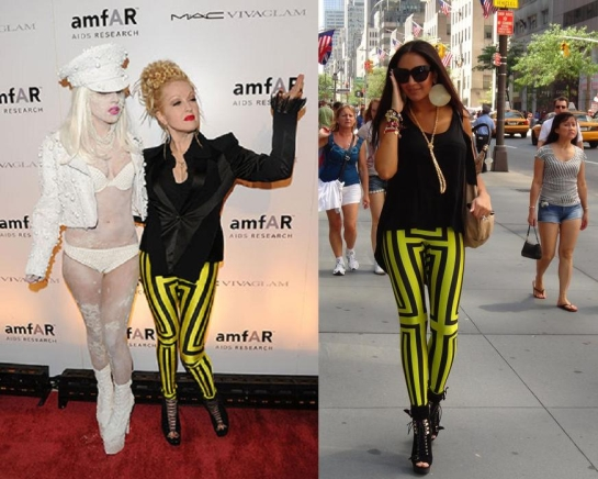 Cindy Lauper ou Lady Gaga fan du même legging flashy