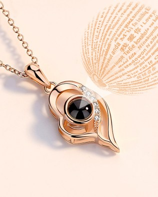 """I Iove you""100 Language Love Shape Necklace Rose Gold Plated"