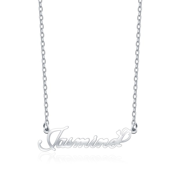 Jasmine Style Name Necklace Platinum Plated S925
