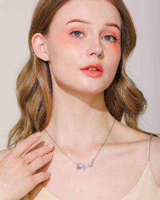 """Crystal"" Style Name Necklace Rose Gold S925"