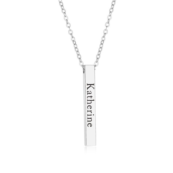 bar name necklace platinum plated engrave name in silver