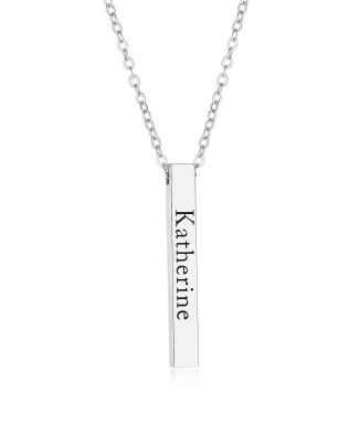 Vertical Bar Name Necklace Platinum Plated S925
