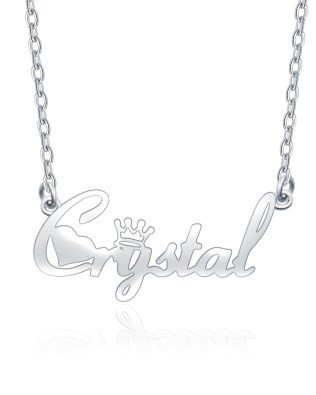 """Crystal"" Style Name Necklace Platinum Plated Copper"