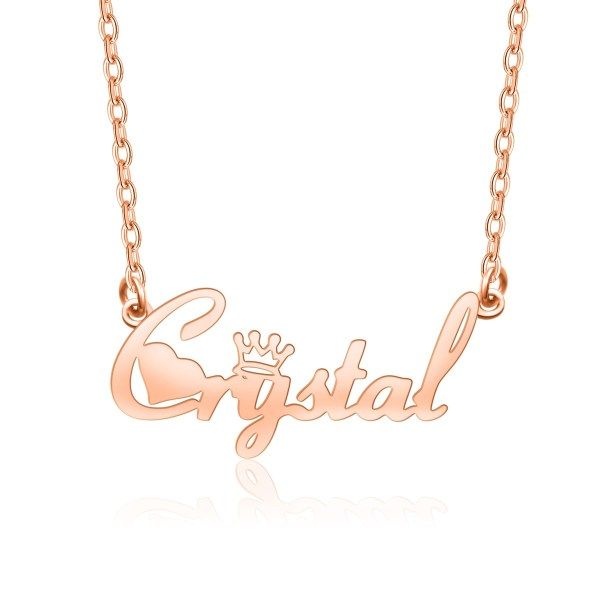 Crystal Style Name Necklace Rose Gold Plated Copper