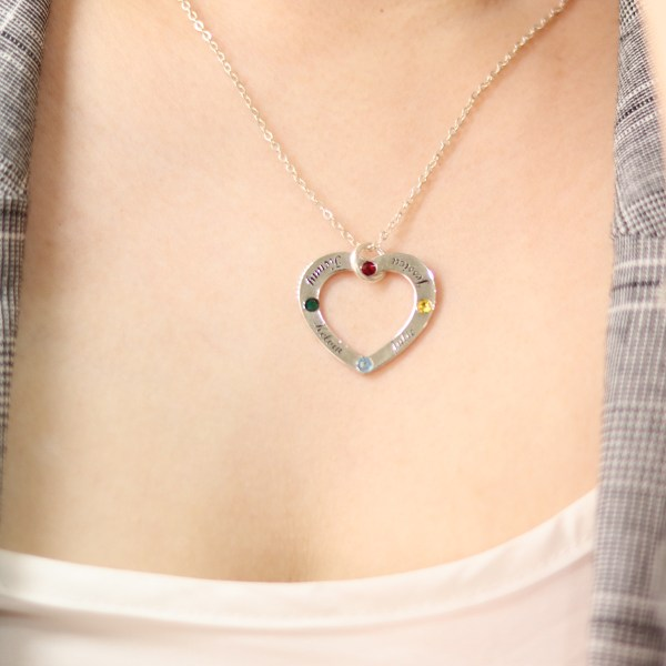 heart name necklace family birthstone sterling silver