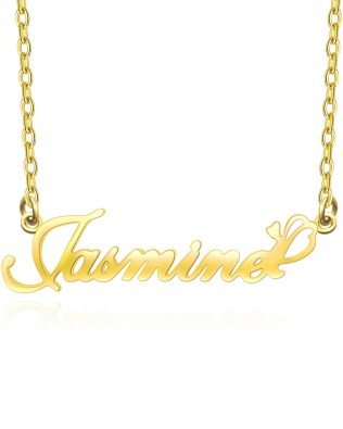 """Jasmine"" Style Name Necklace 18k Gold S925"