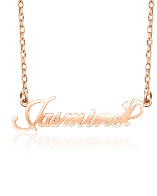 """Jasmine"" Style Name Necklace Rose Gold Plated S925"