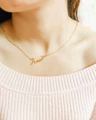 """Amie"" Style Name Necklace 18k Gold Plated S925"