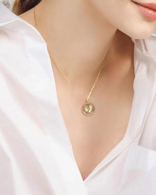 Baby 3D Engrave footprint and handprint necklace 18k Gold Plated S925