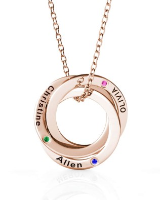 Russian Ring Name Necklace with birthstone Rose Gold Silver S925
