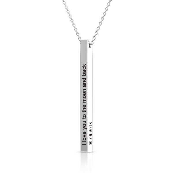 3d Engraving name necklace long bar
