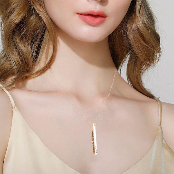 3d Engraving name necklace long bar