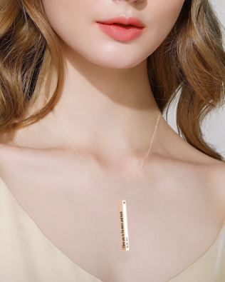 Vertical Long Bar Name Necklace Rose Gold Plated S925