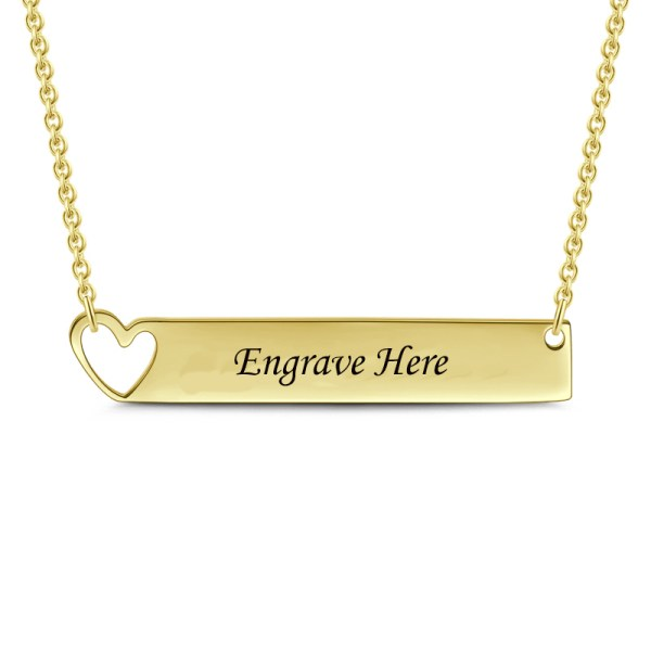 bar name necklace silver 18k gold