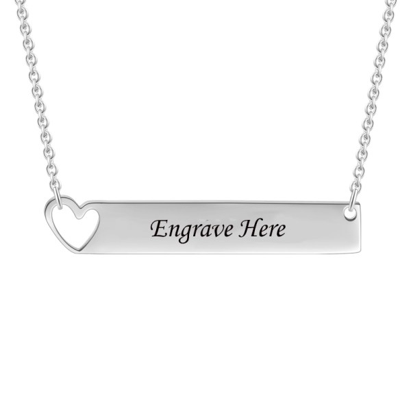 bar name necklace silver