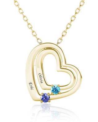 Name Engraving Heart Style Necklace with Birthstone Silver